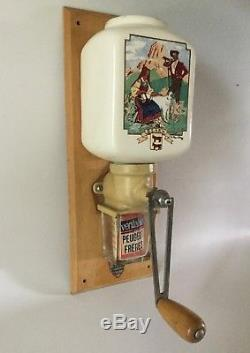 Antique PEUGEOT FRERES Wall Coffee Grinder France BEARN Sgd R. Foullio 1936