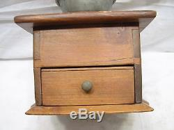 Antique Pewter Top Coffee Lap Grinder Burr Mill Kitchen Tool Dovetailed Box