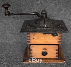 Antique Primitive Finger Joints Wood Coffee Grinder Iron Crank Ornate Top Design