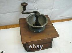 Antique Primitive Pewter Top Coffee Lap Grinder Burr Mill Wood Dovetailed Box