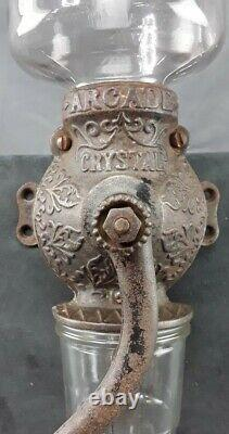 Antique Primitive Wall Mount Arcade Crystal No 3 Coffee Grinder Cast Iron Glass