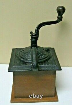 Antique Primitive Wood Coffee Grinder /Pepper Mill Hand Crank With Drawer Dovetail
