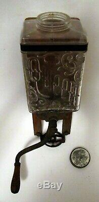 Antique Queen Glass Body Wall Mount Coffee Grinder Mill Hopper Brighton