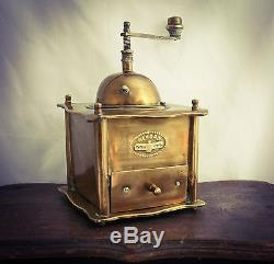 Antique REKORD Coffee grinder Brass table box hand crank Mill