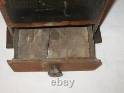 Antique Rapid Coffee Mill No 42 Wood Square Coffee Grinder Drawer