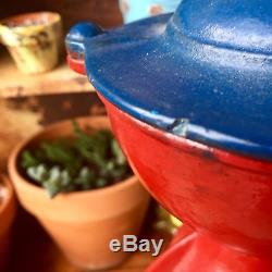 Antique Red and Blue Cast Iron Enterprise Coffee Grinder