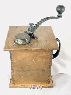 Antique SUN Mfg. No 1080 Cast Iron & Wood Hand Crank Coffee Mill Grinder