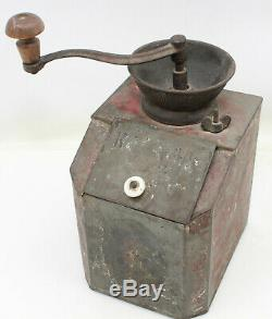 Antique Tin Coffee Grinder Pepper Mill Metal Hand Crank Lid Porcelain Knob Metal