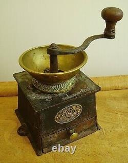 Antique Victorian Kenrick & Sons Cast Iron& Brass Coffee Grinder Mill No. 1