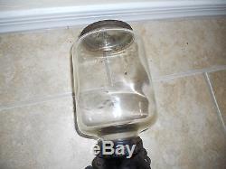 Antique Vintage Arcade Cast Iron Blown Glass 14.5 X 4.5 Coffee Grinder MILL