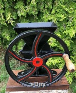 Antique Vintage Beautiful Red & Black Heavy Metal Superfin Coffee Grinder