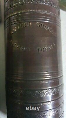 Antique Vintage Brass Hand Coffee / Pepper Grinder, Turkish Mill Marked 26 cm
