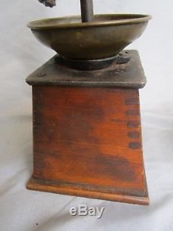 Antique Vintage Coffee Grinder Mill 19c. Wood Brass Iron