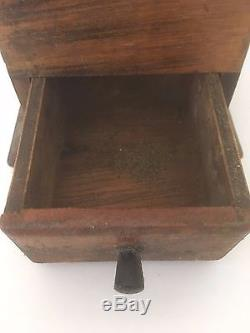 Antique Vintage Coffee MILL Spice Grinder Brown Wooden Box With Drawer