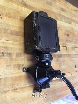 Antique Vintage Glass Metal N. C. R. A Wall Mount Coffee Grinder