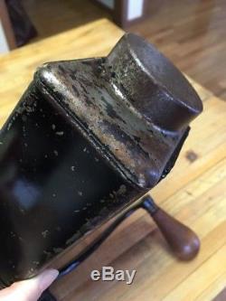 Antique Vintage Glass Metal N. C. R. A Wall Mount Coffee Grinder