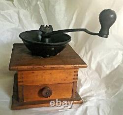 Antique Vintage Metal and Wood Coffee Pepper Grinder With Drawer