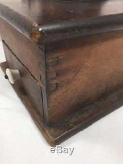 Antique Vintage Wood and Iron Hand Crank Large Table Top Coffee Grinder