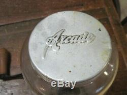 Antique Vtg Arcade Crystal #3 Wall Mount Coffee Grinder MILL Cast Iron Excellent