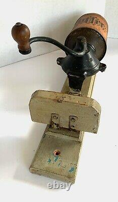 Antique Wall-Mount IRON & TIN COFFEE MILL/Grinder-THE FANNER MFG CO-No Lid