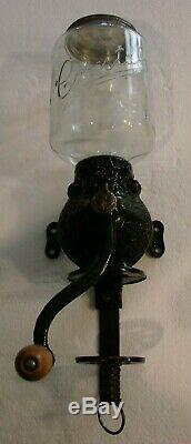 Antique Wall Mounted Arcade Crystal No. 3 Cast Iron Coffee Grinder Mill