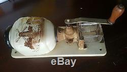 Antique Wall mounted HT coffee grinder ca. 1930s 1950s brown