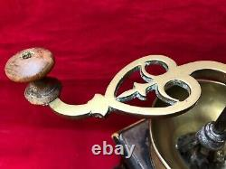Antique Wood Coffee Grinder Pepper Mill Brass Hand Crank Inlaid Mother of Pearl
