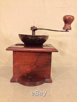 Antique Wood and Metal Coffee Mill Grinder Signed A Meverle French Made