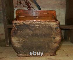 Antique Wooden Coffee Grinder Mill Dovetailed With Iron Top