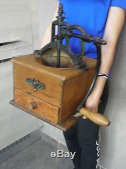Antique big Coffee Grinder Vintage Broyeur Wooden country Kaffee caffè kithen