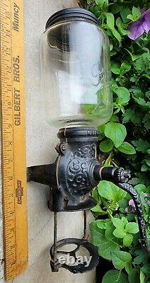 Antique c1905 Brighton Premier Cast Iron Wall Mount Coffee Bean Grinder