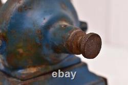 Antique cast iron Single Wheel coffee grinder vintage BLUE BEAUTIFUL