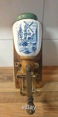 Antique dutch blue wall mounted small model Coffee Grinder ca. 1920-1930