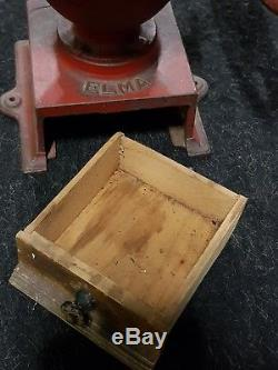 Antique no 1 cast iron Elma Coffee Grinder. In Original condition