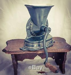 Antique no. 3 Coffee Grinder Blue Gold Mill Moulin Molinillo Cafe kaffeemuehle