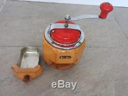Antique round coffee mill coffee grinder PeDe Peter Dienes collectors item WOW