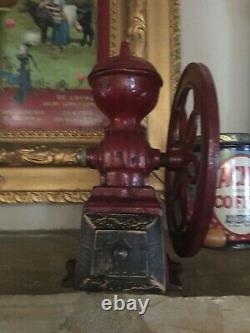 Antique/vintage Nacional Coffee Grinder Cast Iron Red All Original Parts