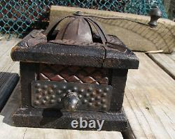 Antique wood tin coffee grinder mill ashtray bank