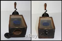 Arcade #1 Label Cast Iron & Wood X-Ray Glass Wall Coffee Grinder Mill Antique