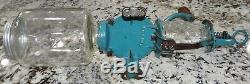 Arcade Crystal #3 Coffee Grinder Robin Egg Blue Primitive Antique