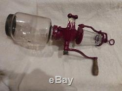Arcade Crystal Coffee Grinder #3 Antique Wall Mt, Catch Cup. Excellent Cond