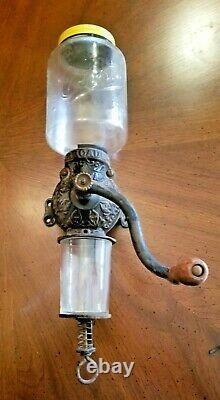 Arcade Crystal Wall Mount Coffee Grinder Hand Crank Vintage Antique