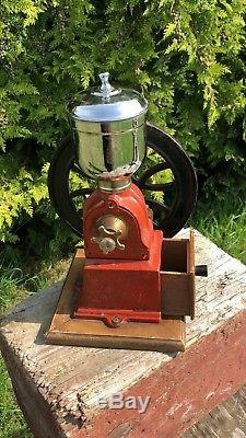 Beautiful Antique Vintage French Iron & Chrome Coffee Grinder