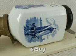 Beautiful Vintage European Delft Porcelain Wall Mount Coffee Mill / Grinder
