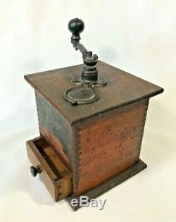Brighton No. 1180 One Pound COFFEE GRINDER Wood Antique Dovetailed Primitive