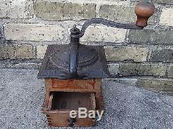 Coffee Grinder Antique Victorian Ornate Cast iron with Handle & wood with Drawer