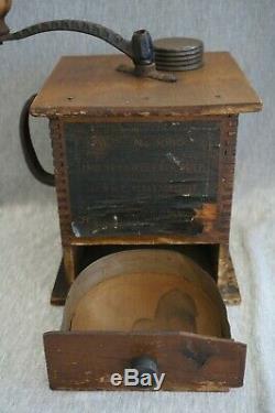 Coffee Grinder CHALLENGE FAST GRINDER No. 1080 Paper Label Antique Wooden