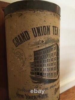 Coffee Grinder Grand Union Tea Antique Vintage Old Tin Litho Brooklyn NY X-RARE