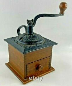 Coffee Grinder Hand Crank Dove Tail Wood Cast Iron Kitchen Decoration
