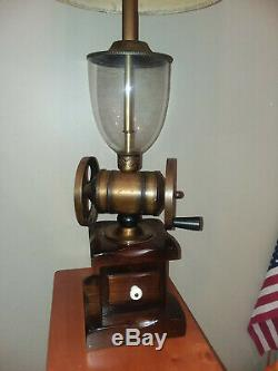 Coffee Grinder Lamp Large Rustic Vintage Americana Antique Brass Pine Glass